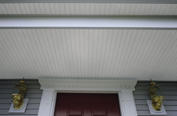 Maintenance free porch panel in Frost